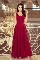 Rochie de seara plisata lunga Model 131669 Numoco rosu