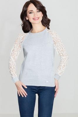 Bluza cu maneci dantela Model 119282 Lenitif gri