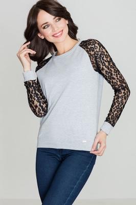 Bluza cu maneci dantela Model 119284 Lenitif gri