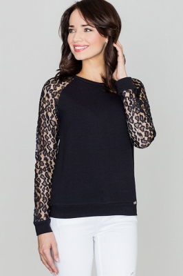 Bluza cu maneci dantela Model 119287 Lenitif negru