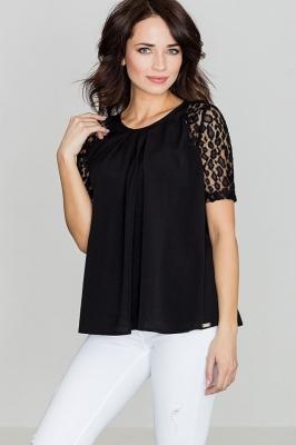 Bluza cu maneci dantela Model 119290 Lenitif negru