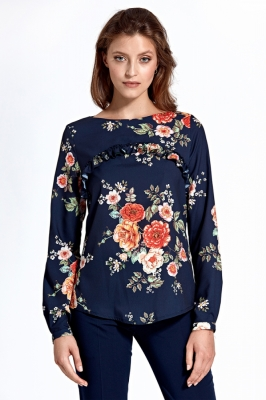 Bluza cu imprimeu floral Model 123645 Colett Bleumarin
