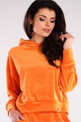 Bluza cu gluga tip catifea Model 155468 awama portocaliu