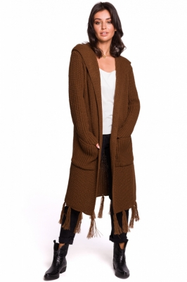 Cardigan tricotat lung cu gluga Model 134740 BE Knit maro