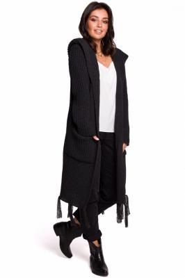 Cardigan tricotat lung cu gluga Model 134741 BE Knit gri
