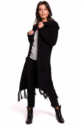 Cardigan tricotat lung cu gluga Model 134742 BE Knit negru