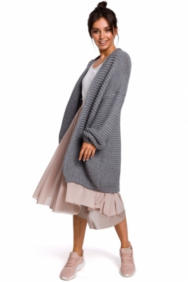 Cardigan tricotat lung Model 136427 BE Knit gri