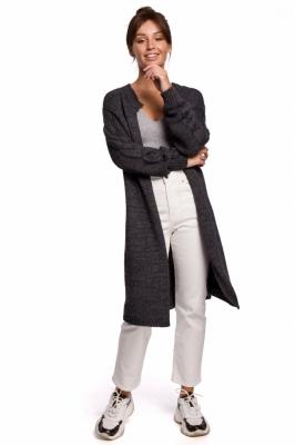 Cardigan tricot lung iarna Model 148256 BE Knit gri