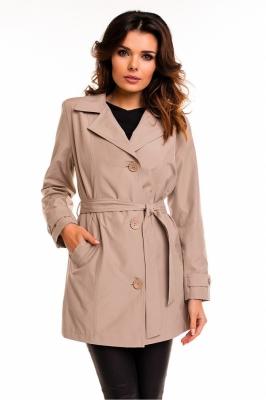 Palton scurt cu cordon Model 63547 Cabba bej