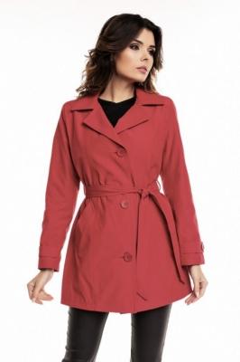 Palton scurt cu cordon Model 63549 Cabba rosu
