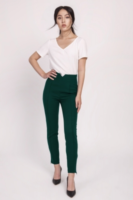 Pantaloni talie inalta Model 151183 Lanti verde