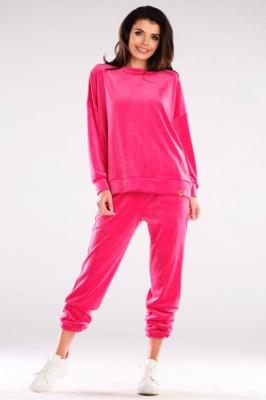 Pantaloni sport tip catifea Model 155470 awama roz