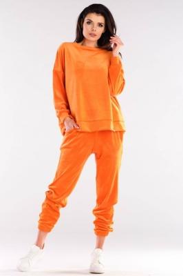 Pantaloni sport tip catifea Model 155471 awama portocaliu