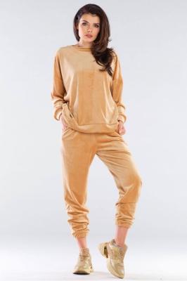 Pantaloni sport tip catifea Model 155472 awama bej