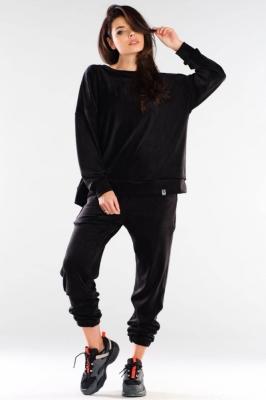 Pantaloni sport tip catifea Model 155473 awama negru