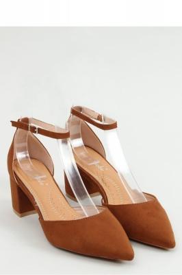 Pantofi cu toc gros mic Model 154403 Inello maro