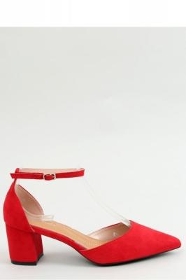 Pantofi cu toc gros mic Model 154407 Inello rosu