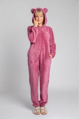 Pijama pufoasa cu gluga cu urechi Model 150649 LaLupa roz