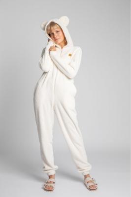 Pijama pufoasa cu gluga cu urechi Model 150651 LaLupa bej
