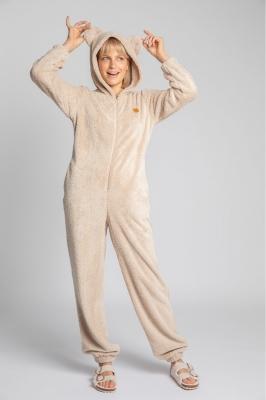 Pijama pufoasa cu gluga cu urechi Model 150652 LaLupa bej