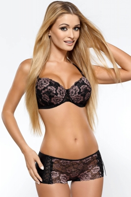 Sutien push up dantela Model 73723 PariPari Lingerie negru