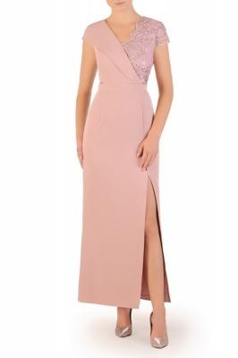 Rochie de seara lunga cu crapatura pe picior Model 156938 Jersa roz