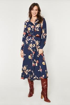 Rochie lunga cu cordon Model 150244 Click Fashion Bleumarin