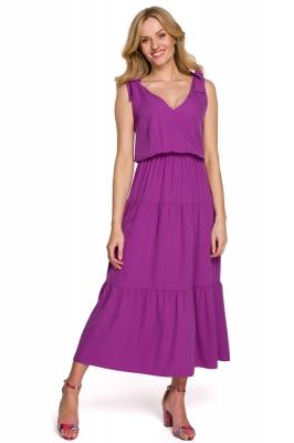 Rochie midi de vara cu bretele Model 153821 Makover violet