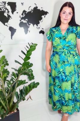 Rochie vara imprimeu tropical Model 156934 Jersa verde