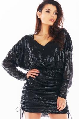 Rochie scurta cu paiete Model 150772 awama negru