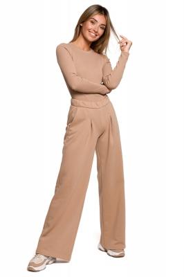 Pantaloni evazati talie inalta Model B200 Orzech - BE bej