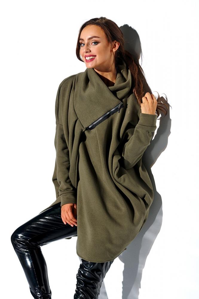 Bluza lunga cu fermoar Model 138423 Lemoniade verde
