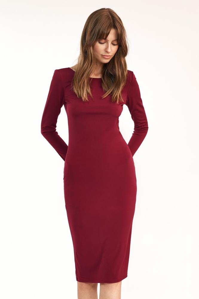 Bordowa sukienka z wycieciem na plecach S191 Bordo - Nife rosu