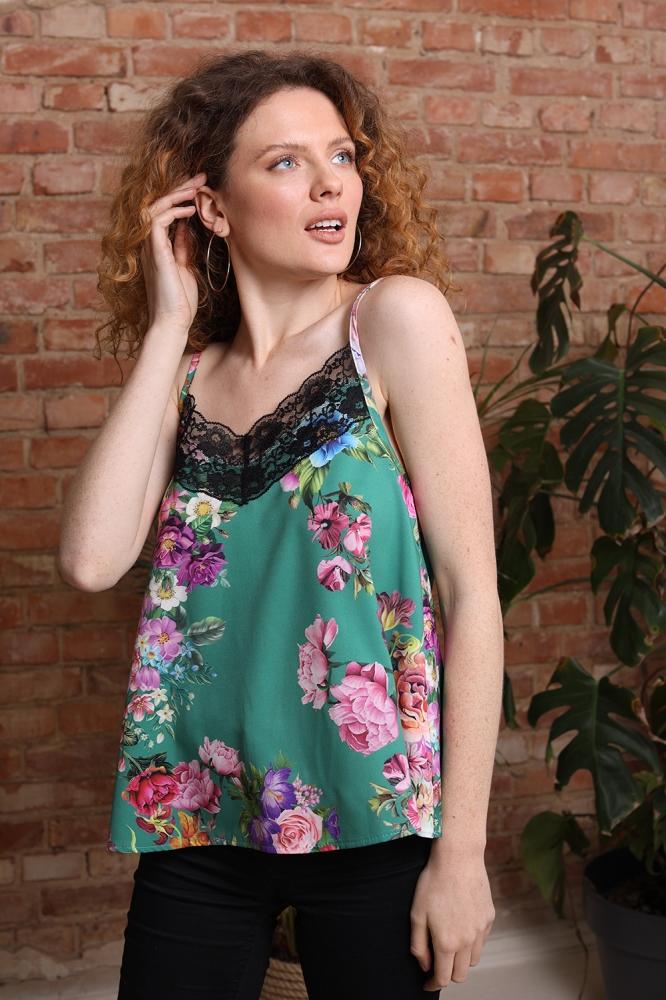 Top elegant cu imprimeu floral Model 154162 Eteria Last Past Now verde