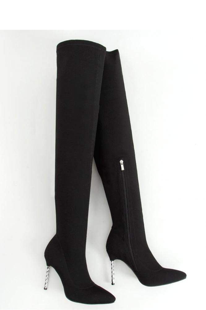 Cizme peste genunchi cu toc Model 157971 Inello negru