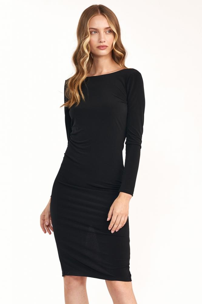 Czarna sukienka z wycieciem na plecach S191 Black - Nife negru