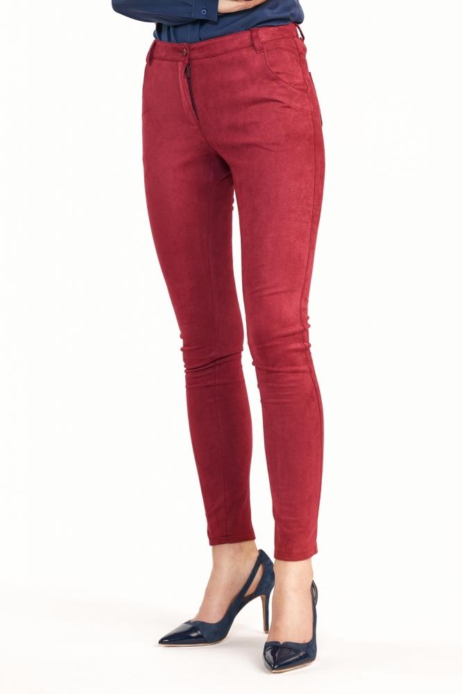 Dopasowane bordowe spodnie SD60 Bordo - Nife rosu