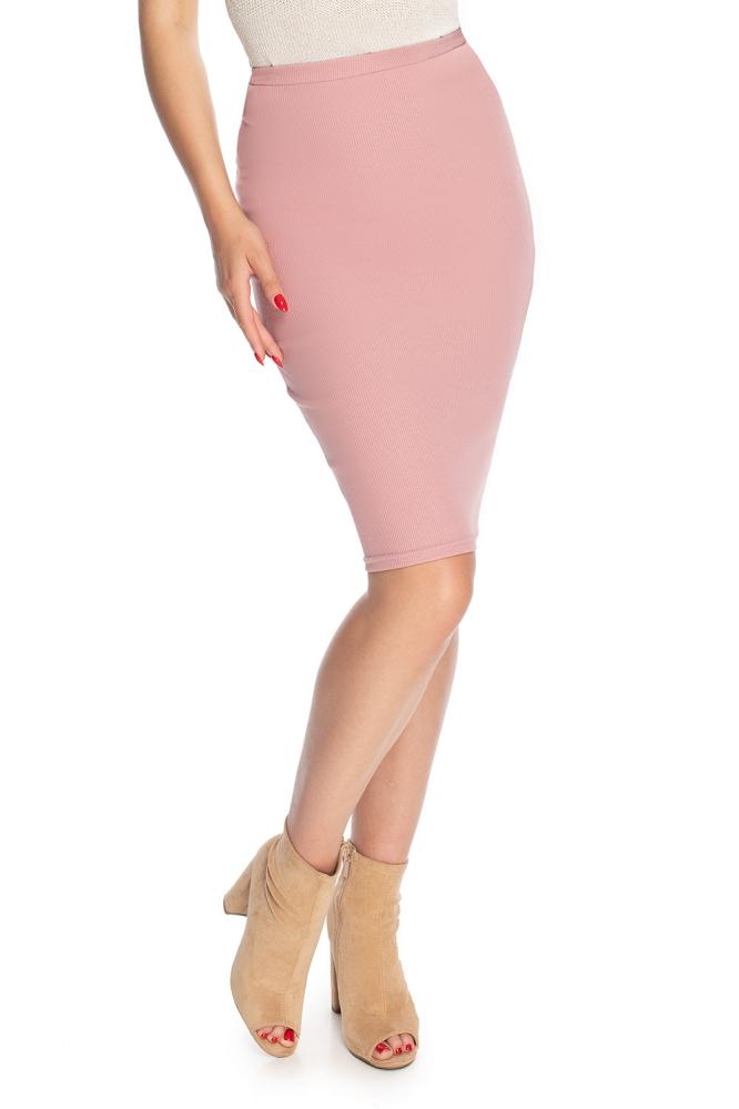 Fusta elastica mulata midi Model 146930 PeeKaBoo roz