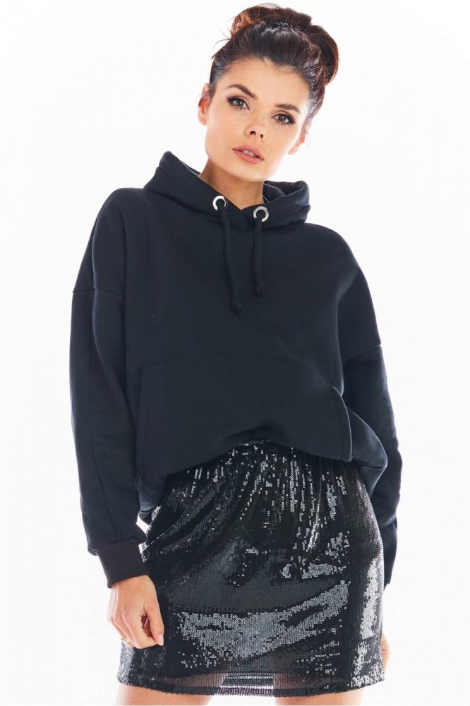 Fusta eleganta scurta cu paiete Model 150750 awama negru