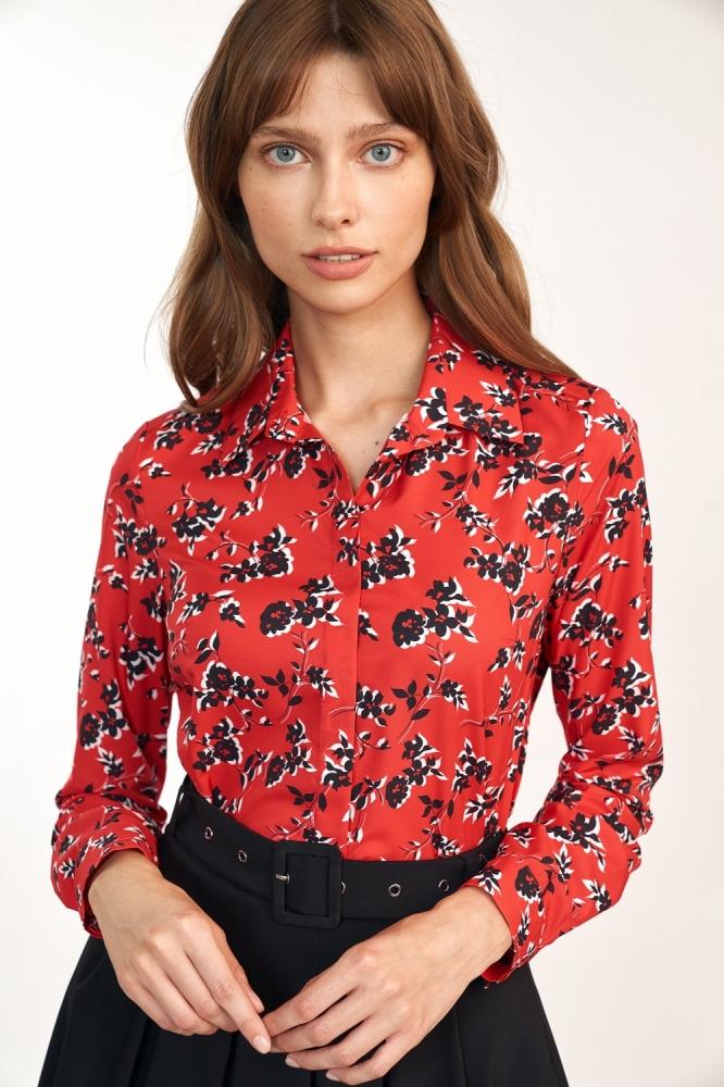 Koszula w kwiatowy wzor K60 Red/Flowers - Nife rosu