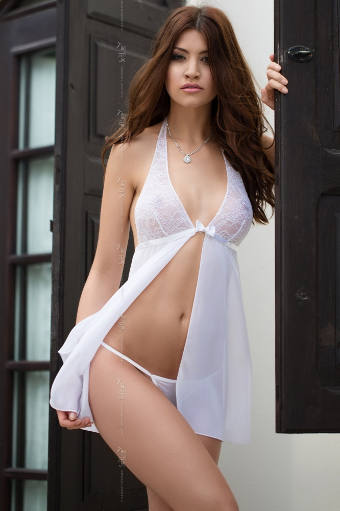 Lenjerie sexy completa model 125679 SoftLine Collection alb