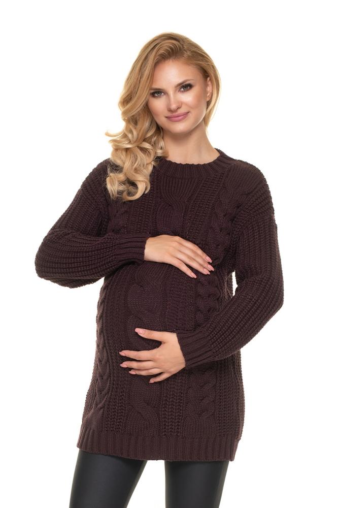 Maternitate pulover model 157831 PeeKaBoo maro