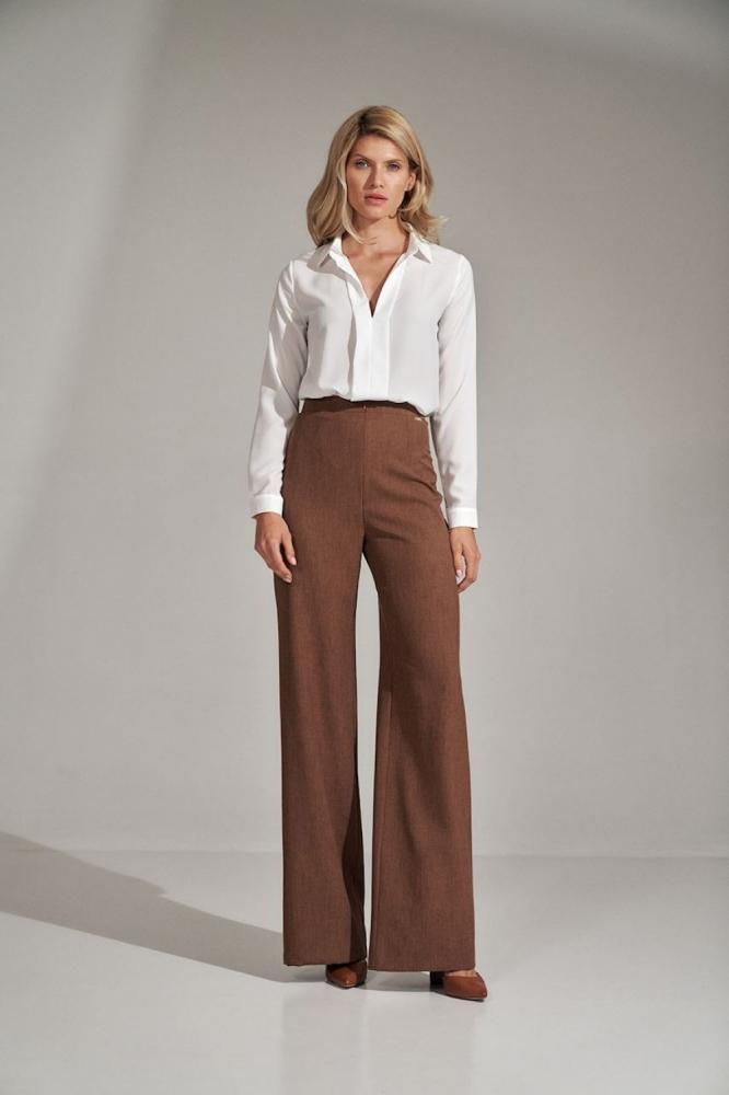 Pantaloni evazati talie inalta Model 150788 Figl maro