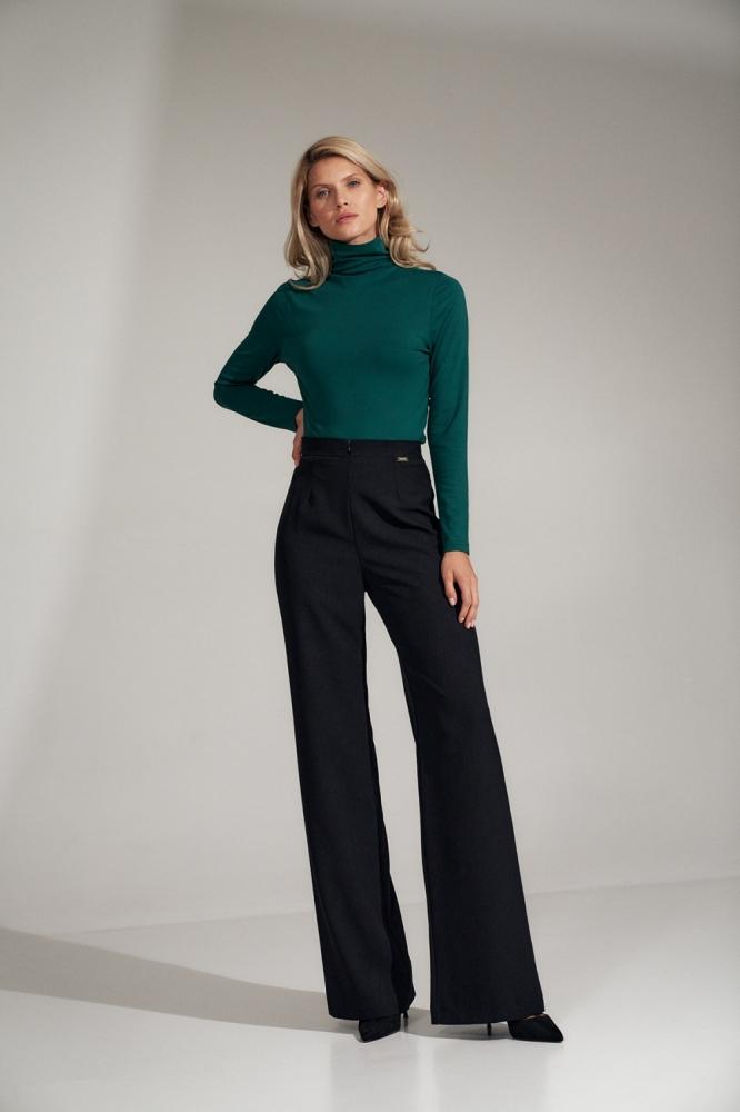 Pantaloni evazati talie inalta Model 150789 Figl negru