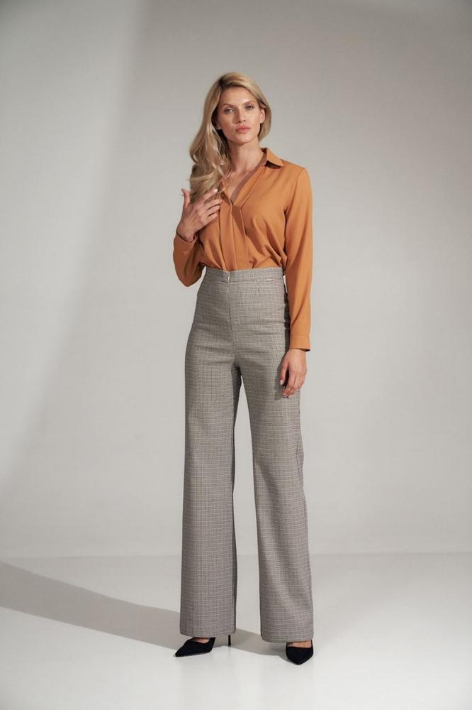 Pantaloni evazati talie inalta Model 150790 Figl gri