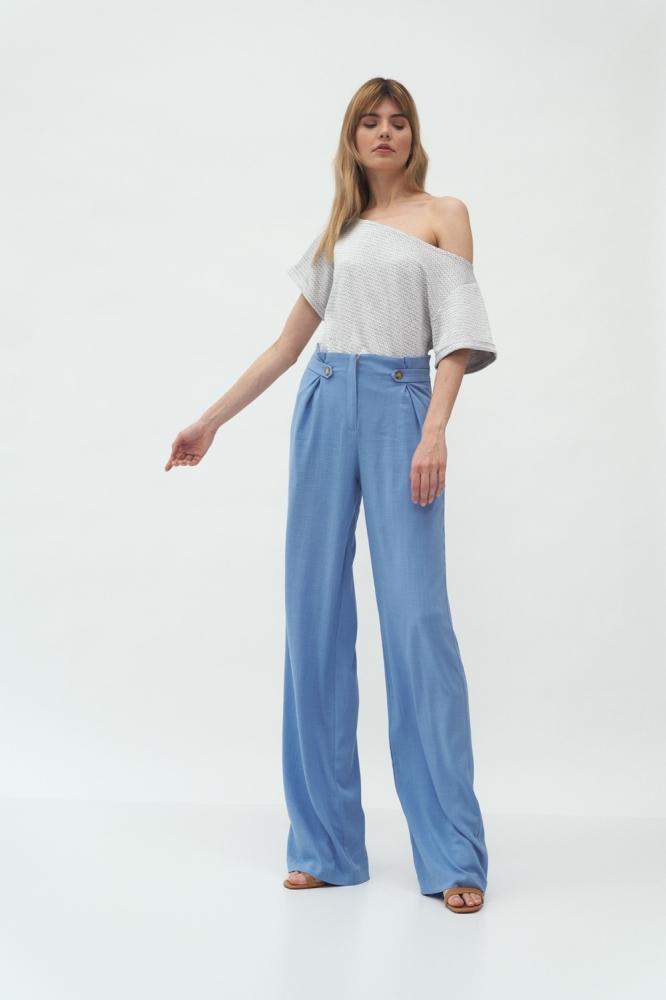 Pantaloni eleganti evazati Model 153690 Nife albastru