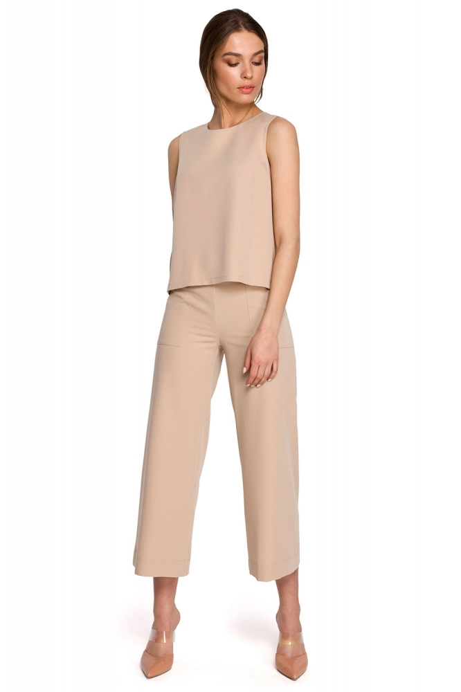 Pantaloni de dama model 154109 Style bej