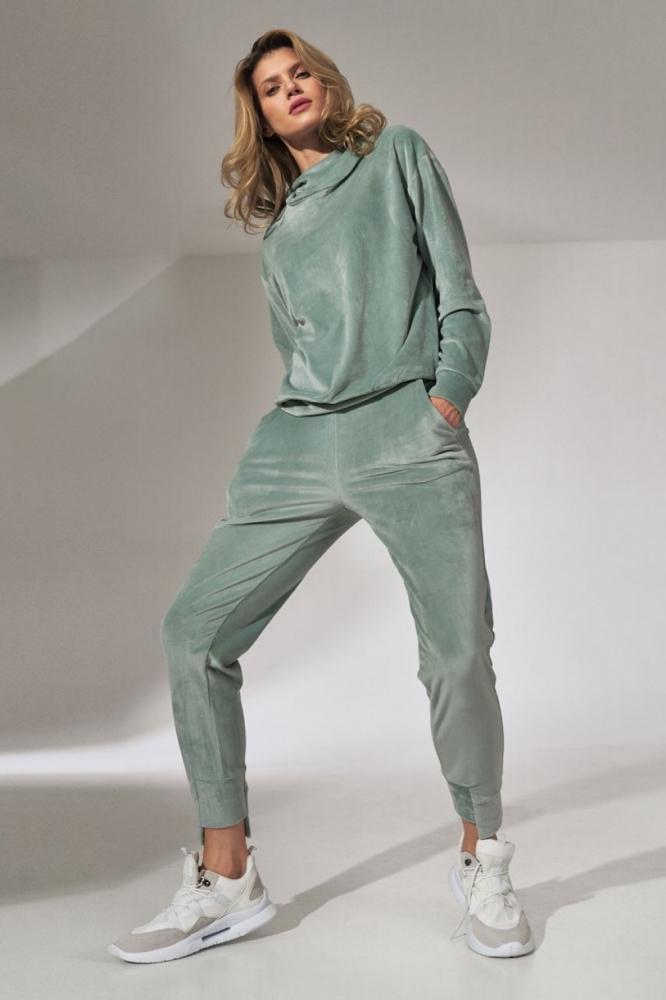 Pantaloni trening tip catifea Model 151806 Figl verde