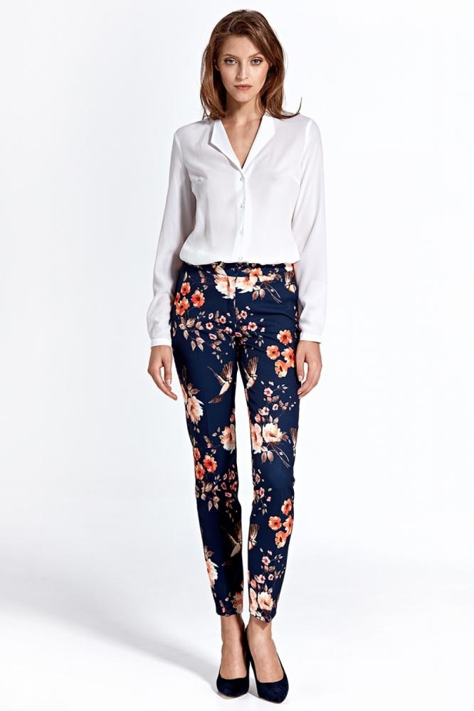 Pantaloni imprimeu flori Model 129016 Colett Bleumarin