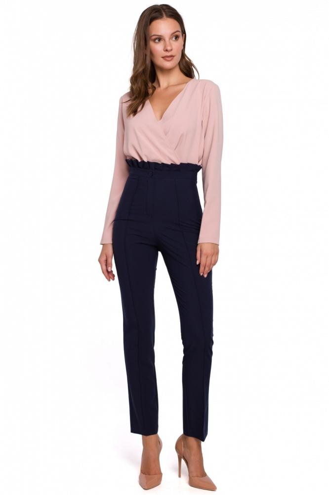 Pantaloni eleganti talie inalta Model 138521 Makover Bleumarin